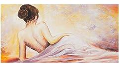 Idea Regalo - YS-Art Quadro Dipinto Con Colori acrilici Donna sconosciuta | 120x60cm | Muro | Mano | Arte Moderna | Tela| Unico| Beige