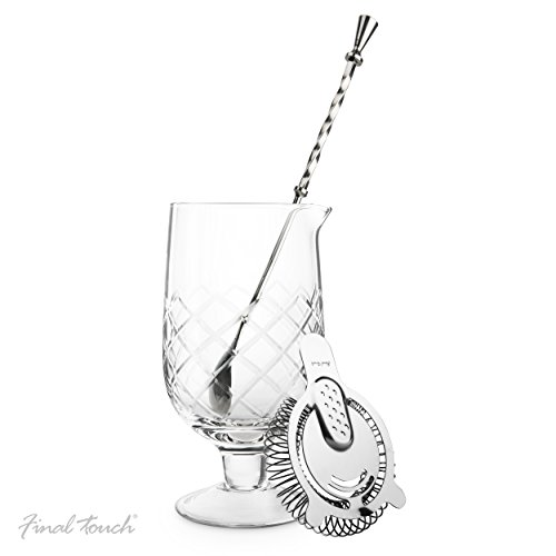 CKB LTD Final Touch Yarai Extra Large Stemmed Mixing Pitcher - L'ensemble Comprend Un Cocktail Cuillère & Hawthorne Passoire Jug
