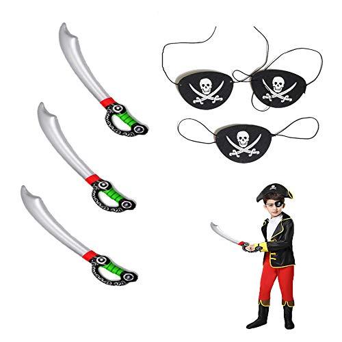Kungfu Mall 3 STÜCKE Aufblasbare Piraten Schwert mit 3 STÜCKE Piraten Augenklappe Maske für Halloween Partys Piraten Thema Kostüm Zubehör