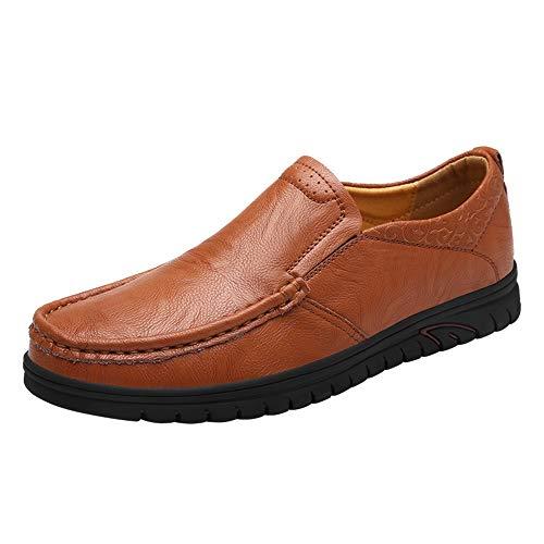 Jingkeke Lässige Oxford Schuhe für Männer Formelle Schuhe Slip-on PU Leder Elegante Geprägte Niedrige Top Runde Zehe Halbschuhe Dauerhaft (Color : Reddish Brown, Größe : 39 EU) - Geprägt Kalb Leder