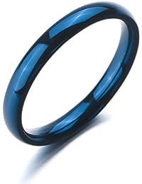 MunkiMix Ancho 3mm Acero Inoxidable Anillo Ring Banda Venda Azul Alianzas Boda Hombre,Mujer
