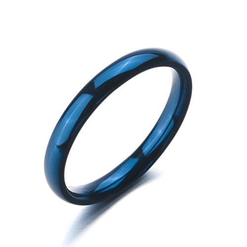 MunkiMix Breite 3mm Edelstahl Ring Band Blau Hochzeit Größe 60 (19.1) Herren,Damen