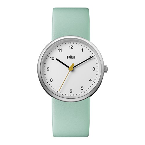 Braun Women's Quartz Watch with White Dial Analogue Display and Green Leather Strap BN0231WHGRLAL