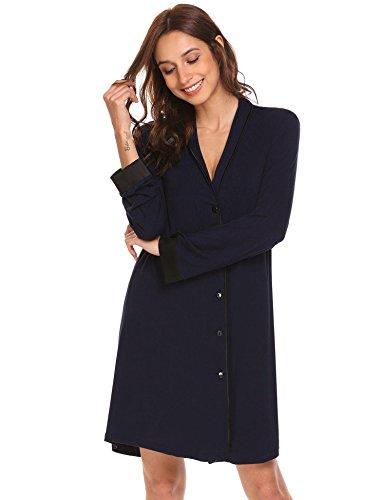 Baumwoll-nachthemd (Damen Nachthemd baumwolle weich frauen schlafkleid shirt lang still pyjama sexy)