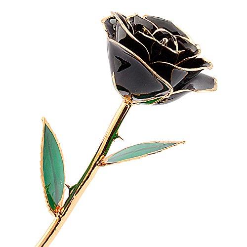 Rosa Real Bañada en Oro 24k, Hecho a Mano con Láminas de Oro y Rosa Real, Regalo Ideal Para el Día ee San Valentín Día de la Madre Navidad Cumpleaños y Boda, Amor Eterno con Caja de Regalo (negro)
