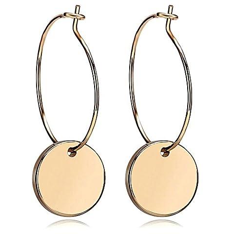 Aooaz Womens Silver Plated Earrings Threader Earrings Hoops Earrings Flat Round Dangle Gold 3.1X1.2cm