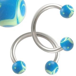 16g 16 gauge 1.2mm 3/8 10mm steel eyebrow lip bars ear tragus horseshoe rings circular barbells hand painted balls AGEF Body Piercing Jewellery 2pcs