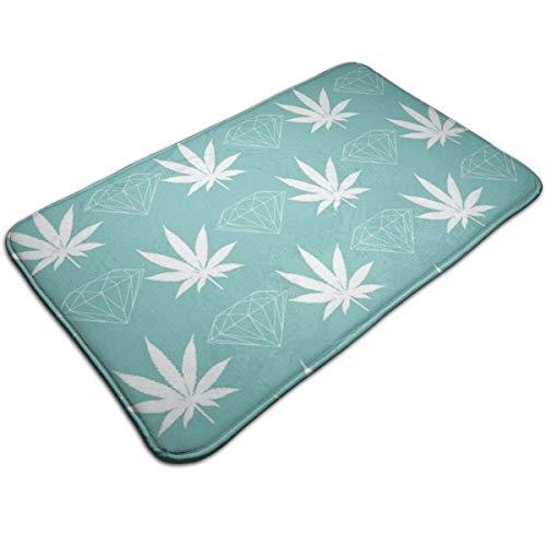 Myhou Cool Diamond Weed Mint Green Fußmatte Entrance Floor Rug Indoor Mat rutschfest, Flannel for Bedroom Bathroom Living Room Kitchen Home Decorative -