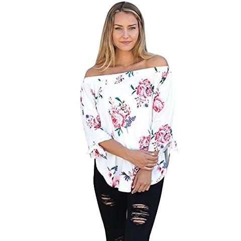 Femmes Chemisiers, IMJONO Femmes Mode Hors épaule Blousons à carreaux décoratifs imprimés floraux T-shirt (XL,