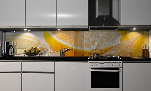 Küchenrückwand-Folie Zitrone in Eis Klebefolie Spritzschutz Küche Fliesenspiegel Möbel Rückwand selbstklebend | mehrere Größen | DIY