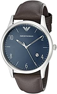 Emporio Armani Beta Men's Blue Dial Leather Band Watch - Ar1944, Analog Display, Quartz Move