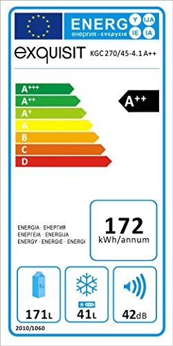 Exquisit KGC 270/45 A++ Kühlschrank / A++ /Kühlteil171 liters /Gefrierteil45 liters