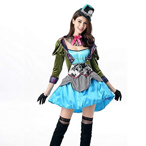Wunderland Alice Im Kostüm Erwachsene Gothic Für - FHSIANN Frauen Deluxe Alice im Wunderland Sexy Hutmacher Kostüm Halloween Fantasie Party CosplayKostümCosplay Frauen