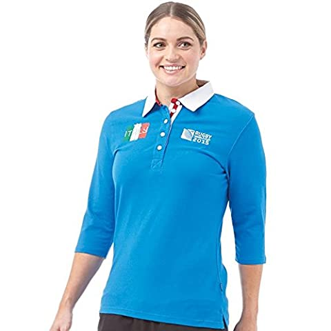 Italie Polo pour Femme Coupe du Monde Rugby World Cup Polo Shirt 3/4 Sleeve Jersey Bleu (UK 14 Euro 40 Bust 38
