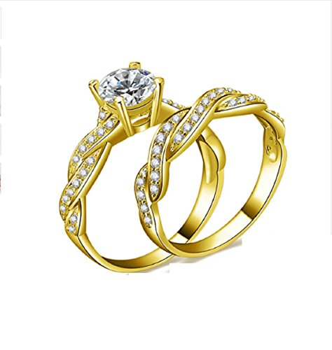 Gowe fede nuziale in oro giallo massiccio 10k, 1ct diamante sintetico lusso twisted anel