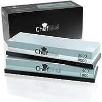 ChefMe! Piedra de Afilar (Set Grano 400/1000/3000/8000)   Piedra para Amolar Cuchillos con Soporte de Silicona Antideslizante e Instrucciones
