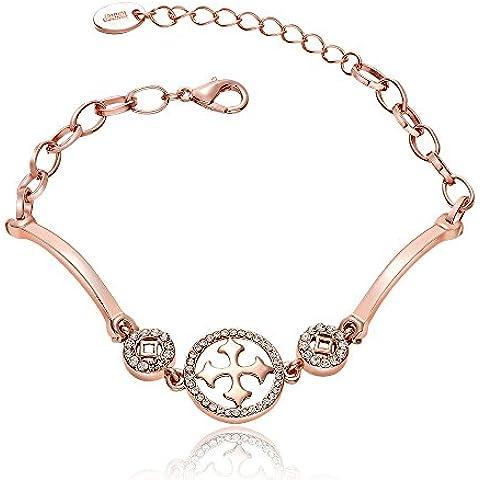Acxico moda joyería rosa chapado en oro pulsera con Rhinestone de la CZ gótico Cruz pulsera mujeres, sello
