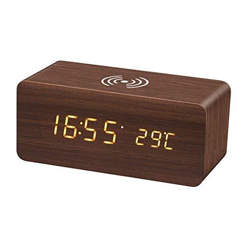 King Boutiques Reloj Inalámbrico De Carga De Madera Estación Meteorológica Tempreture Pantalla LED...