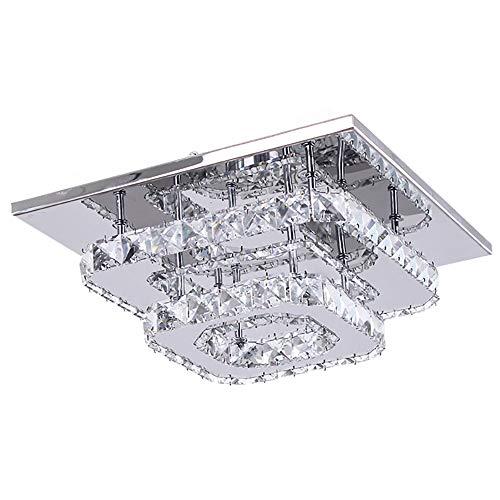 Plafonnier en Cristal,Lustre LED,Lumière de Cristal pour Couloir Salle à Manger,30cm 36W (Blanc Froid)