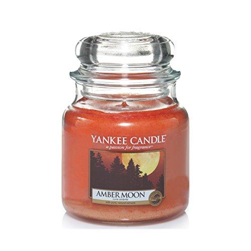 Amber Windlicht (Yankee Candle Classic Housewarmer Mittel, Amber Moon, Duftkerze, Raum Duft im Glas / Jar, 1315046E)