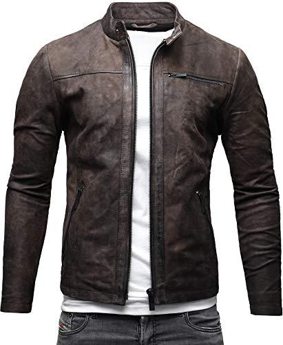 CRONE Epic Herren Lederjacke Cleane Leichte Basic Leder Jacke aus weichem Rindsleder (L, Elephant (Nubukleder))