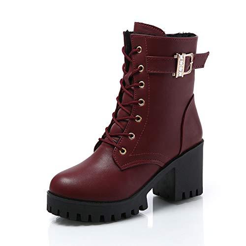 Top Shishang Plus SAMT Damen High Heel Spitze Martin Stiefel Chelsea Stiefel und Stiefeletten,weinrot,39 - Red Heels Chiffon