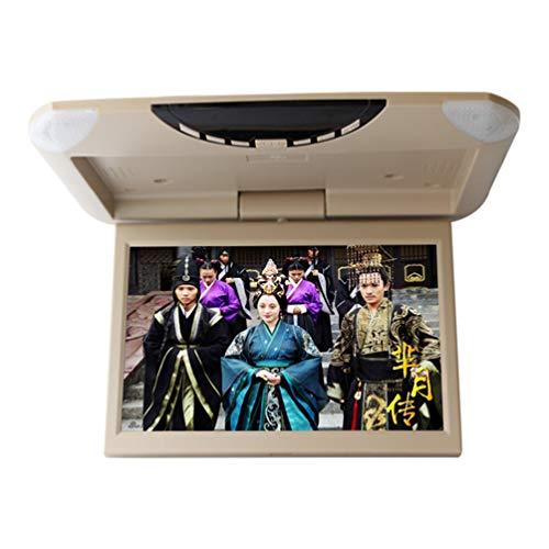 10,1 pulgadas de coche Flip Down monitor 1080P HD TFT LCD techo montaje monitor Ultra Thin reproductor de vídeo de arriba para coche SD MP3 MP5 LED con USB SD FM,Beige
