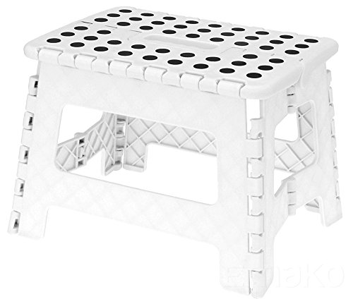 Klapptritt Klapphocker Hocker 1 Stufe Haushaltsleiter Einstieg Trittstufe Weiß (Klappbarer Holz-box)