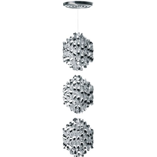 VerPan Pendelleuchte Spiral SP3 (1969) / Cellidor silber / Nylon / ø 48 cm Pendellänge 220 cm 107955001055