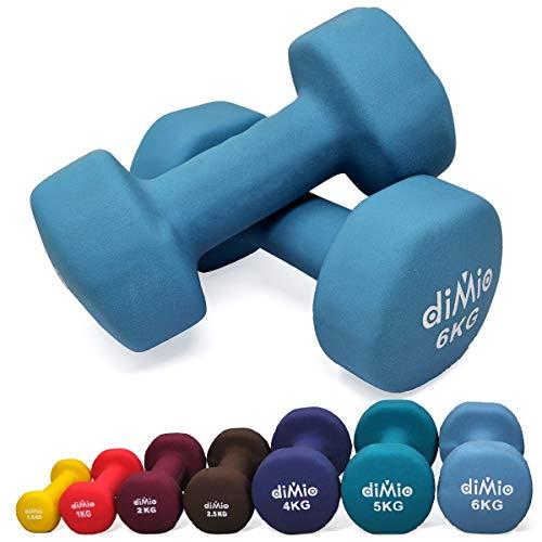 diMio 6,0 kg Neopren Gymnastik Hanteln im Doppelpack, Soft-Grip, für Fitness, Ausdauertraining und Muskelaufbau
