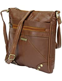 Lorenz Accessories Lorenz Soft Leather Zipped Across the Body Slim Hand Bag. (TAN)