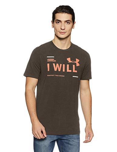 Under Armour Men's Plain Loose Fit T-Shirt (1297961-019_Charcoal Medium Heather_Large)