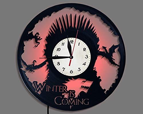 LiSh-EC Creative LED Silent Quartz Clock Vinyl CD Record Reloj de Pared Decoración Juego Derecho Trono de Hierro Vinilo Regalo Novedad Reloj