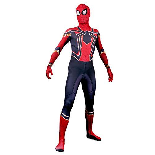 Mann Spider Kostüm Red - Spiderman Kostum Kinder Erwachsene, Spiderman Kostüm Für Erwachsene - Echter Halloween Spider Man Cosplay Anzug,Red-L