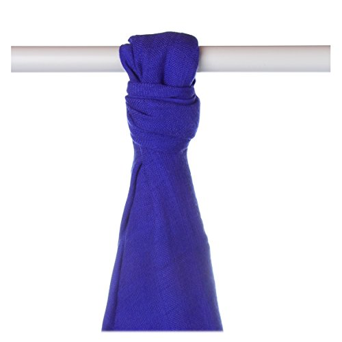 XKKO bmb09 0030 A Couche Serviettes à langer Bambou, allaiter, comme tapis ou couverture légère, couches 90 x 100 cm, BLEU