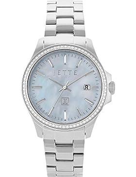 JETTE Time Damen-Armbanduhr Time Edelstahl Analog Quarz One Size, perlmutt/blau, silber