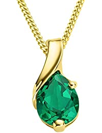 Miore Necklace - Pendant Women Chain Emerald Yellow Gold 9 Kt/375 Chain 45 cm