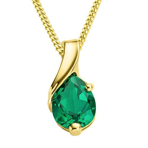 Miore Kette - Halskette Damen Gelbgold 9 Karat / 375 Gold Kette  Smaragd  45 cm