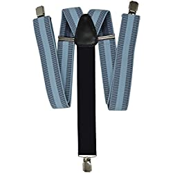 Tirantes Formal 'Y-Forma' con 3 Clips (35mm) y Negro Trasero. Rayas Horizontales Azul Claro
