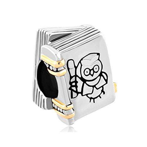 Korliya -pendente per braccialetti a forma di libro con gufo, ideale per una laurea