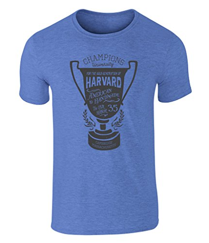 CALIFORNIA BLACK PLATE - University Sport Trophy, Uni Trophäe, Harvard Champions Cambridge Massachusetts Icon Vintage Style Grafik Herren T-Shirt, S - XXL Heather Royal