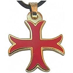 Colgante templario con cruz templière pattée estuche, color rojo