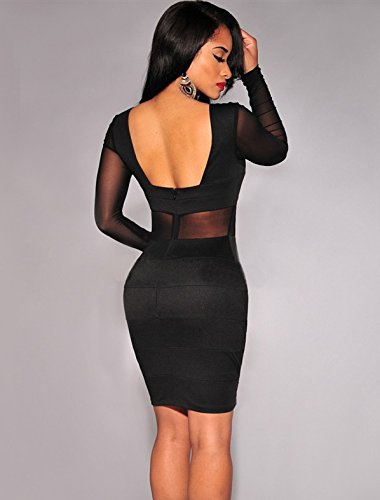 Ohyeah Women's See Through Plus Size Mesh Inserts Long Sleeves Dress Black