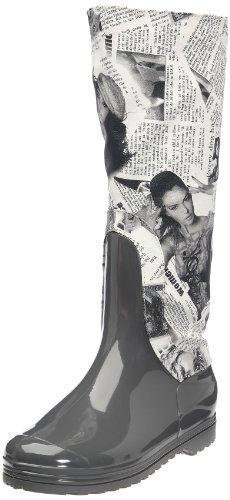 Be Only Botte Print, Stivali da pioggia donna, Grigio (Gris/blanc), 38