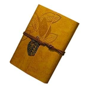 Vintage Leaves Cover Cuir Portable Note Book / Papier Kraft / Jaune