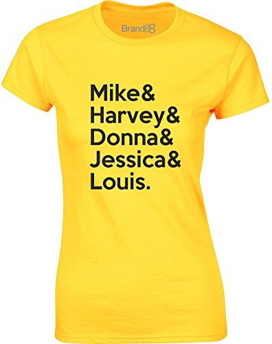 Brand88 - Suits Cast, Mesdames T-shirt imprimé Daisy jaune/Noir