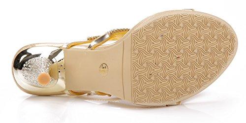 Honeystore Damen's Stöckel Absatz Handgemacht Strass Sandalen Gold