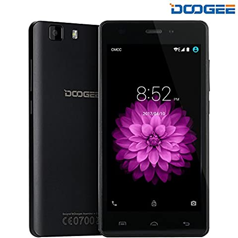 DOOGEE X5, 5 Inch 3G SIM-Free Unlocked Cell Phones - Android 6.0 Dual SIM Mobile Phone With HD IPS Display - MT6580 Quad Core - 8GB ROM 5MP Camera Bluetooth 4.0 - GPS Xender Smartphone - Black