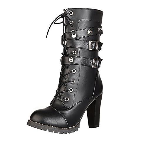 UH Damen Schnür Stiefeletten High Heels Blockabsatz Ankle Boots mit Nieten Reißverschluss und Schnalle Schuhe