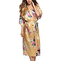 Avidlove Pijama Lencería Kimono Largo Pavo de satén y Estampado Floral ...